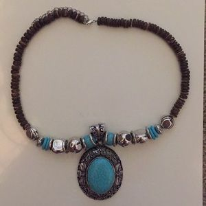 Faux turquoise chunk necklace